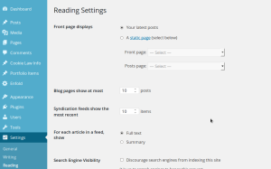 Wordpress Setting Frontpage