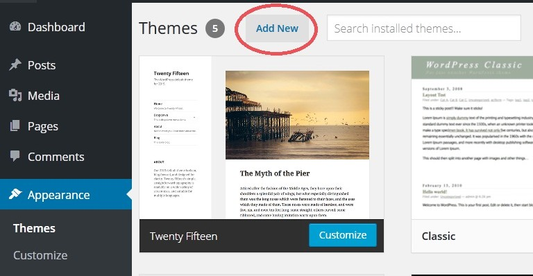 Wordpress Theme Add New