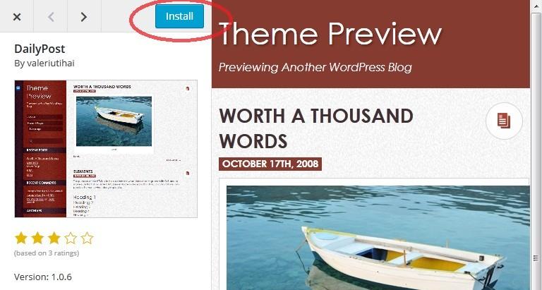 Wordpress Theme Install new